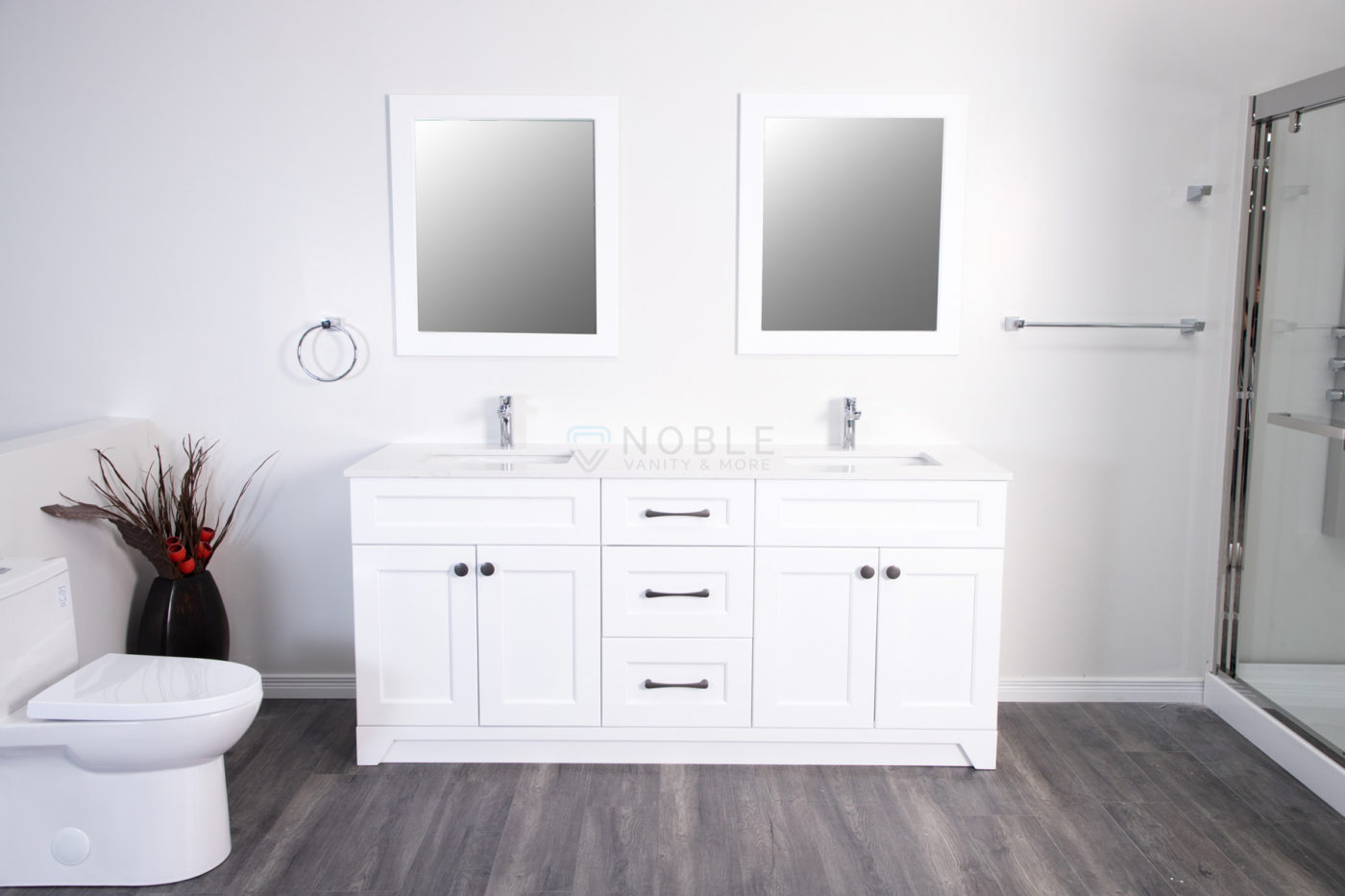 Royal Collection Shaker White 72 Inch Double Sink Vanity Noble Vanity